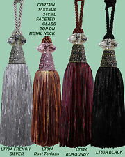 Curtain  Tie backs with glass Faceted Heads x 2 pieces (choose from 7 Colours)