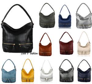 New Women 2 Front Pocket  Large Faux Leather Tote Hobo Bag Lady Shoulder Handbag