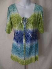 New NWT Maurices Womens Size XL Short Sleeve Shirt Teal Blue Green White Top