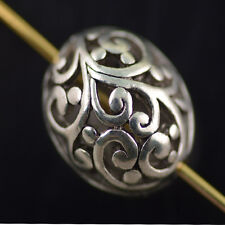 Bulk 10pcs Tibet Sliver Hollow Out Loose Beads Spacer Charms Findings 16*11mm