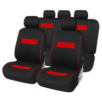 9 Pc Car Seat Covers Set Black& Red Full Set for Auto 5 SEAT Polyester CLOTH