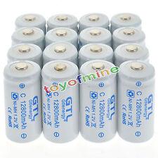 16x Dimensioni C batteria 1.2V 12800mAh Ni-MH ricaricabile di colore bianco