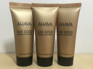3x AVAVA 24K Gold Mineral Mud Mask 15ml/0.51 oz each NEW
