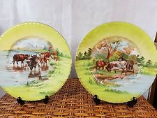 VINTAGE VICTORIA AUSTRIA COWS IN PASTURE LOVELY TWO PLATES