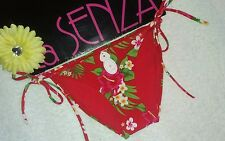 La Senza Red Floral Bora Rose side tie Bikini Bottom size 8~NWT
