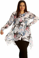 New Women Plus Size Shirt Ladies Butterfly Floral Print Blouse Top Chiffon Style