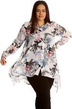 Women Plus Size Shirt Ladies Butterfly Floral Print Blouse Top Chiffon Style White 22-24