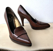 PRADA Calfskin Brown Leather Pumps Shoes Heels Sz 37 Italy Authentic w/ Box Rare