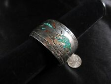 Big NAVAJO Sam Begay TURQUOISE Coral STERLING Silver CUFF Cowboy Cattle 93.4gm