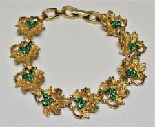"Goldtone Green Rhinestones LEAVES 7""long Bracelet"