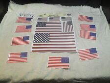 America Flag Window Clings Decals ~ Set of 6 Outside and Set of 20 Inside