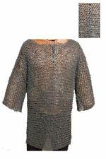 Armour Chain mail 8mm Half Sleeve Round Riveted Medieval Haubergeon Shirt