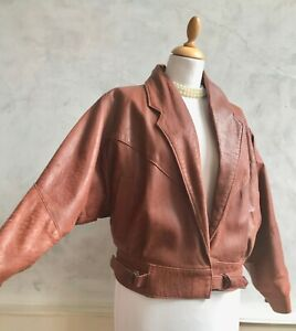 Vintage Chestnut Brown 100% Leather Batwing 80s Paisley Lined Jacket Coat Small