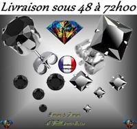 BOUCLE D'OREILLE HOMME FEMME ACIER 316L ZIRCON DIAMS 4 TAILLES ZIRCONIUM NOIR