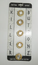Vintage 80s  Button Covers Killer Buttonz NOC - Faux Mother of Pearl & Gold