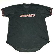Miner Baseball Jersey Size 2XL XXL Black Red Shirt Henley Short Sleeve Adult Men