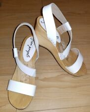 0196f12993909 NEW Free People White Sandals Wedge Slingback Strap Shoes 39  8.5 M