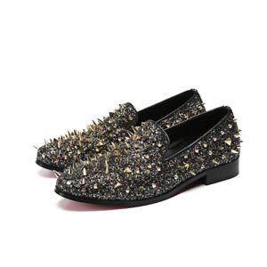 Men's Punk Nightclub Rivet Tide Shoes Hair Stylist Shoes Loafers Pedal Shoes