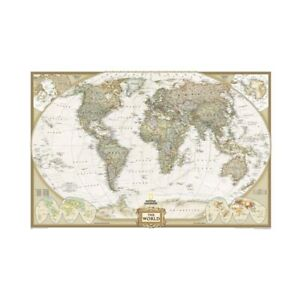 VINTAGE POLITICAL WORLD MAP WALL ART PRINT POSTER SIZE 59*39in