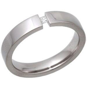 Ladies 4mm Tension set Diamond Engagement Ring Size P Jewellery