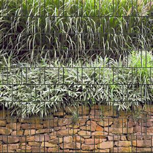 Zaunsichtschutzstreifen bedruckt mit Klemmschienen 2. Wahl - Steinmauer