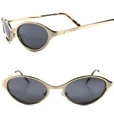 Genuine Vintage Classic 80s 90s Unique Gold Mens Womens Round Oval Sunglasses
