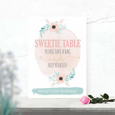 Personalised Sweetie Table Wedding Party Sign Water Colour Effect 3 FOR 2 (W9)