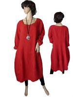 Gr.42 - 50 Kleid Leinenkleid Langarmkleid Ballonkleid Rot Italien LAGENLOOK