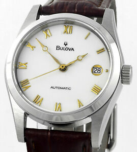 Vintage BULOVA Automatic Date Stainless Steel Mens Wrist Watch