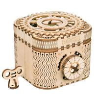 Robotime 3D Wooden Puzzle Toy Treasure Box Mechanical Gear Drive  Model Kits