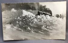 1922 FAITH South Dakota STEAM ENGINE & SNOW Railroad RPPC Real PHOTO Postcard