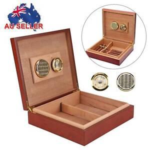 Cigar Humidor Humidifier Cedar Wooden Lined Storage Case Box w/ Hygrometer AU #
