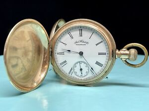Antique American Waltham Co Hunting Case Pocket Watch 1873 - Vintage Gold RARE