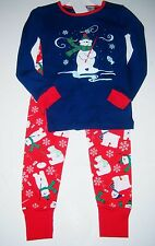 AUTHENTIC KIDS 2-Piece L/S Pajamas RED/NAVY Fishing Polar Bears Snowflakes 4T NW