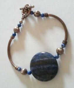 Blue Stone, Glass Bead & Metal Bead Bracelet with Metal Clasp Handmade