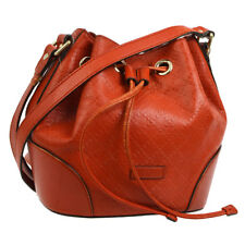 Authentic GUCCI Drawstring Cross Body Shoulder Bag Orange Leather Italy BT15080