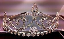 Bridal Wedding Rhinestone Crystal Silver Large Tiara With Hair Comb