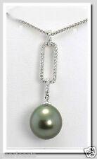 "11.74MM Dark Gray Tahitian Pearl Diamond Pendant/Chain 14K Gold 16"" NEW"