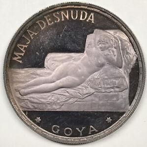 1970 Equatorial Guinea Proof 100 Pesetas .999 Silver Coin - Goya's Maja Desnuda