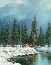 Wayne Cooper Untitled Original Oil Painting on Canvas 1990 winter pine trees