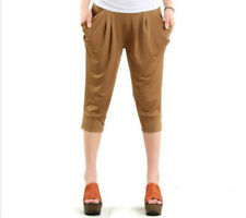 Women Ladies Stretch Leggings Cropped Capri Harem Pants Trousers Brown