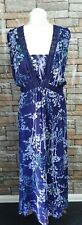 MARKS & SPENCER BLUE MIX EMBROIDERED MAXI SLEEVELESS V-NECK DRESS  SIZE 20L REF