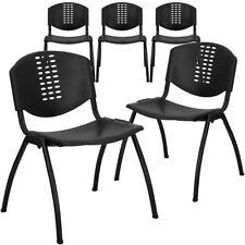 5 Pk. HERCULES Series 880 lb. Capacity Black Plastic Stack Chair with Black...