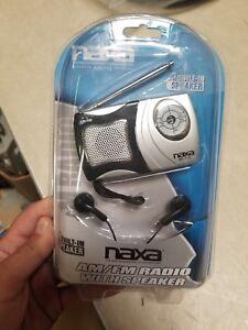 Lot of 3 New Naxa AM/FM Mini Pocket Radio Built-in Speaker Silver/Black NR-712