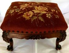 Victorian Foot Rest, Floral on Maroon Needlepoint,Carved Solid Mahogany. Vintage