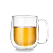 Double Wall Insulated Glass Mug Cup Beer Milk Coffee Water Mug With Handle 300ML