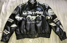 MUSTANG 40th Anniversary Black Leather Coat Racing Jacket Nr Mint Condition XXL