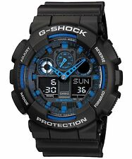 Casio G Shock GA100-1A2 Men's Analog & Digital Blue with Black Resin Band Watch