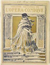 PROGRAMME/THÉÂTRE NATIONAL DE L'OPÉRA COMIQUE/27 MAI 1922/LA TOSCA/PUCCINI/SOLEX