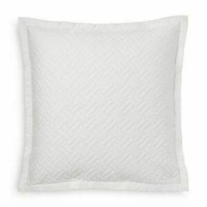 "Ralph Lauren Greenwich Deco White Quilted Euro Pillow Sham 26""x 26"" NEW"
